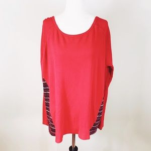 Oversized Long-sleeve Thermal w/ Faire Isle Back
